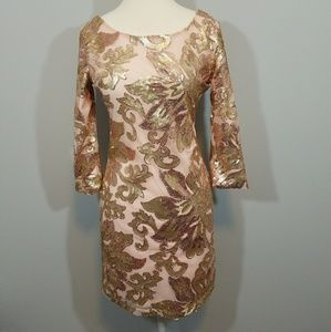 Pink & Gold Crystal Doll Sequined Dress